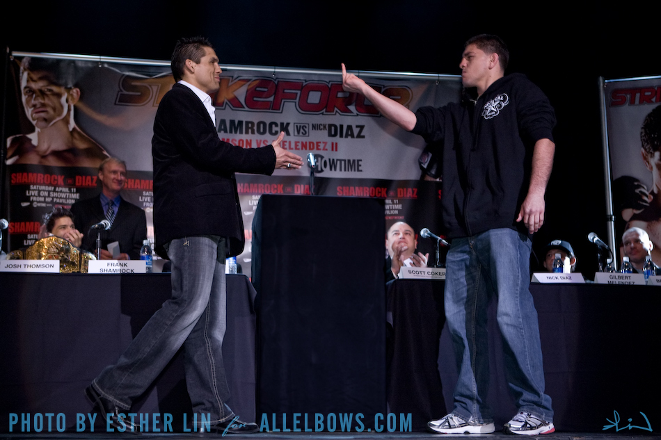 Frank Shamrock and Nick Diaz meet on stage