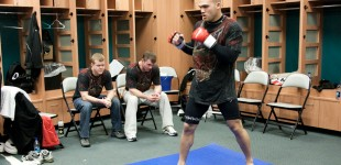 Robbie Lawler warms up