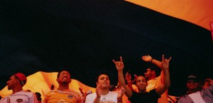 Under the giant flag at Dynamo game