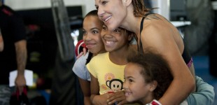 Cris Cyborg with young fans