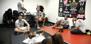 Fabricio Werdum and camp watching undercard fights