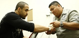 Rafael Feijao getting hands wrapped