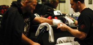 Dan Henderson gets hands wrapped