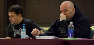 Joe Silva and Dana White watch fighters