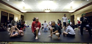 Fighters warm up for grappling