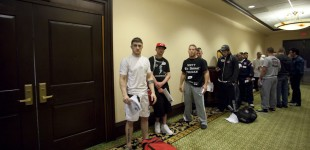 Fighters line up for interviews